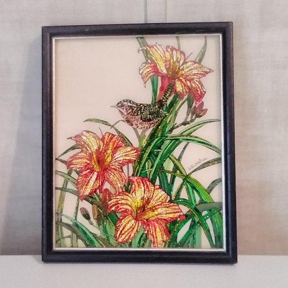 Bird with Flower Signed Foil Art